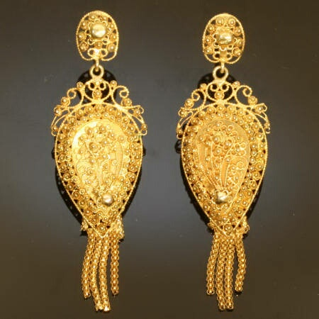 Antique Jewelry, Estate jewelry and Vintage jewelry :  dutch earrings antique